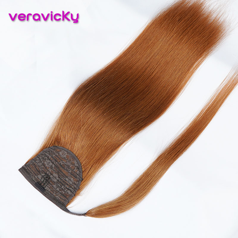 Veravicky 100% Real Human Hair Ponytail Straight Copper Red Machine-Made Remy Wrap Around  Ponytail Clip In Hair Extensions