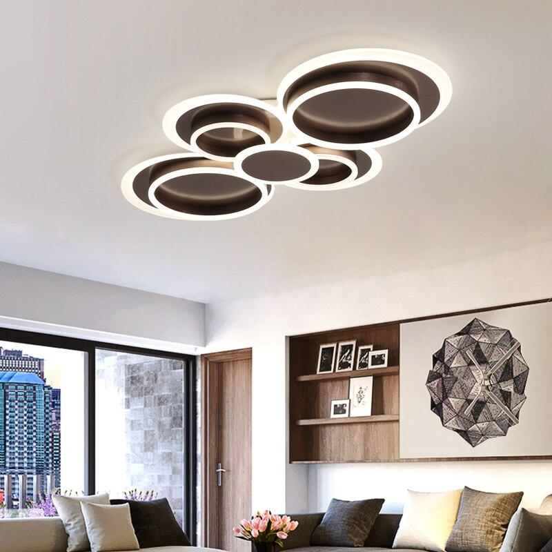 Nowoczesny ze złota lub brązu doprowadziły sufitu światła 30W 78W 108W akrylowe proste lampy sufitowe z pilotem do salonu sypialni domu