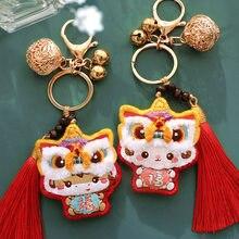 Porte-clés brodé Lion dansant, fait à la main, pour femmes, mignon, du zodiaque chinois, amulette en point de croix pour Couples