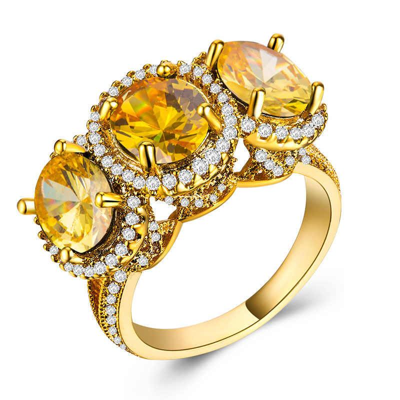 ที่ดีที่สุดขายแหวน Zircon แหวนทองคำ 18k เครื่องประดับของขวัญแหวนแฟชั่นผู้หญิงแหวน