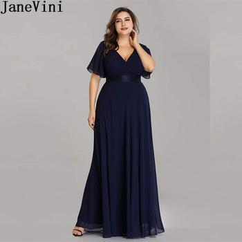JaneVini Ladies Chiffon Long Mother of the Bride Dresses Plus Size Pleat Elegant Groom Mother Party Dress robe mere de la mariee 1