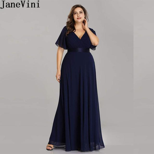 JaneVini Ladies Chiffon Long Mother of the Bride Dresses Plus Size Pleat Elegant Groom Mother Party Dress robe mere de la mariee 1