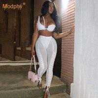 Новинка 2019, модный сексуальный белый женский комплект, топ на одно плечо и брюки-карандаш, 2 предмета, Клубные вечерние облегающие штаны знам...