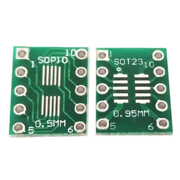 50pcs Sot23 Msop10 Umax To Dip10 Adapter Board 0.5mm 0.95mm Pitch