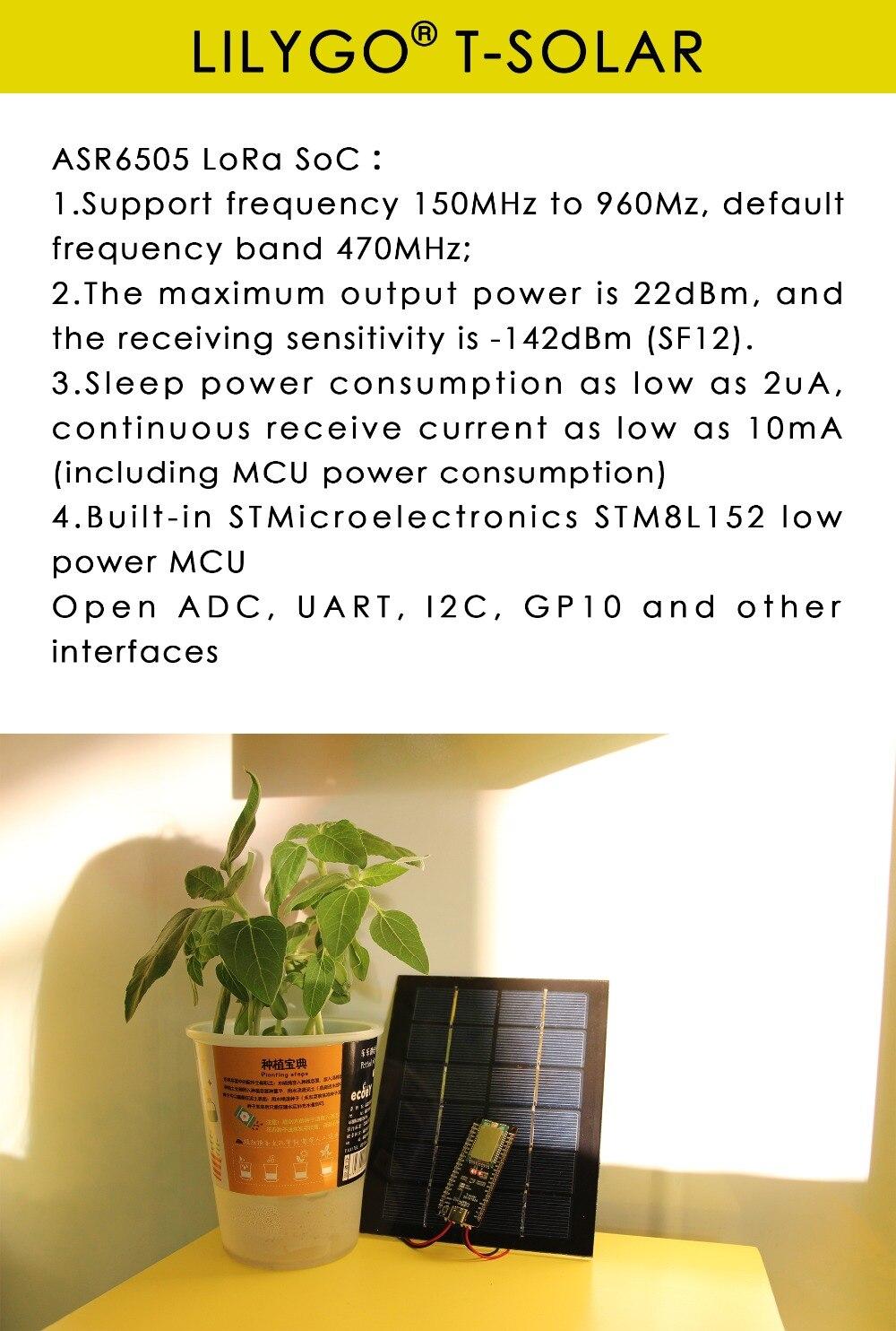 LILYGO® TTGO T-Solar 433MHz Solar Power Development Board STM8L152 CPU SX1262 Lora With Antenna