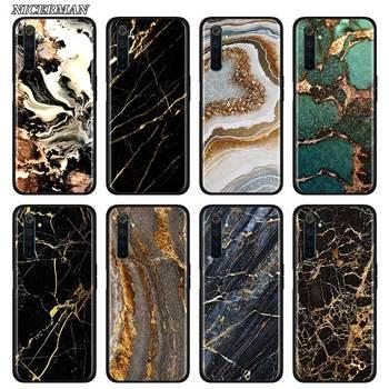 Перейти на Алиэкспресс и купить Тонкий мягкий чехол для Realme X50 Pro, силиконовый чехол для телефона X2, C3, 5i, 5, 6i, 6, Narzo, 10, 10A, Pro, чехол из золотой фольги и мрамора