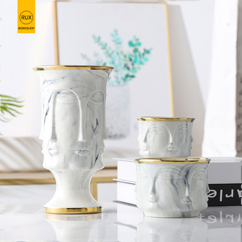 RUX WORKSHOP Nordic Face Shape Designs Best Marble Ceramic Vase flower pot Gold Home Decoration Accessories Tools 1