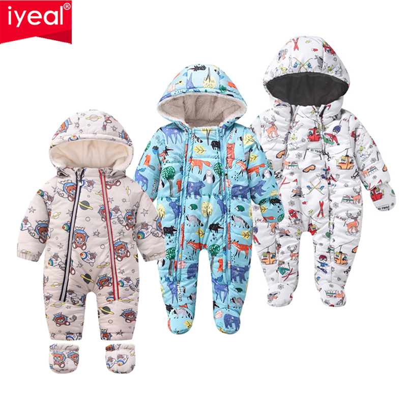 6-9 Months Baby Hooded Rompers Flannel Winter Outfits Boys Girls Snowsuits Feet Covered Jumpsuit