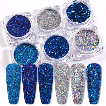 6Pcs/Set Blue Siliver Colorful Nail Glitters Set Holographics Nail Powder Flake Nail Art Sequins DIY Decoration 1