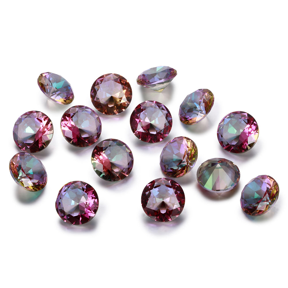 Round Cut Loose Gemstone 12x12MM 2.5-3.5 CT  Rainbow Topaz Stones Fashion Decoration Jewelry Gifts 10 Pcs/set Wholesale