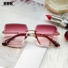 Rimless Sunglasses Square Fashion Summer Luxury Brand UV400 Women for Zonnebril Red