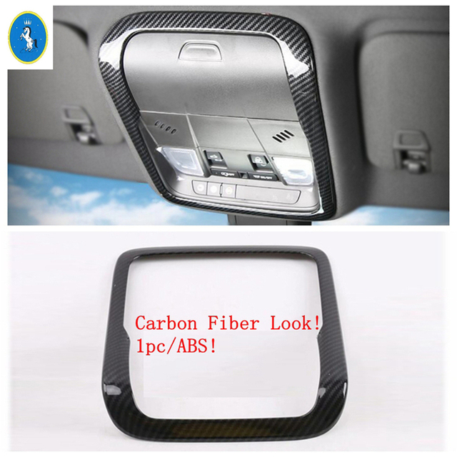 For Cadillac XT4 2019 2020 2021 Inner Door Handle Bowl Frame / Roof Reading Lights Lamps Cover Trim Carbon Fiber ABS 3