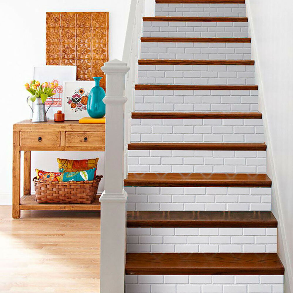 6Pcs Stair Stickers 3D Tiles Wall Brick Pattern Stair Riser | Wood Stairs With Tile Risers | Color Scheme | Creative | Stair Outdoors | Grey | Tile Residential