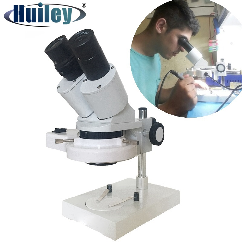 20X 40X Illuminated Industrial Stereo Microscope Soldering Repairing Tool For Mobile Phone Watch Clock Repairing PCB Inspection