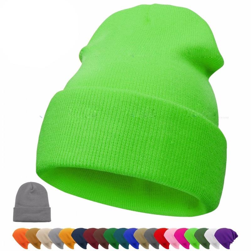 2019 Winter Hat Beanie Plain Knitted Autumn Winter Warm Ski Cuff Cap Wool Soft Slouchy Skull Caps Beanies Men Women Street Hats