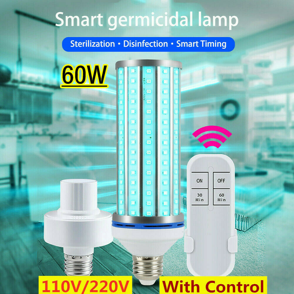 195 Beads UVC 60W UV Germicidal Disinfection Light Bulb UVC Led Corn Light Bulb 254nm Wave Ultraviolet Lamps 110V 220V E26 E27