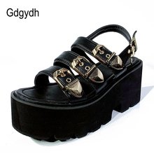 Gdgydh Summer Ladies Sandals Vintage Buckle Punk Gothic Shoes Platform Chunky Heels Open Toe Gladiator Shoes Women Creepers