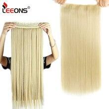 Leeons-extensiones de cabello sintético para mujer, 5Clips de extensión de cabello, Clip en degradado, negro, marrón y rojo, 5 pinzas
