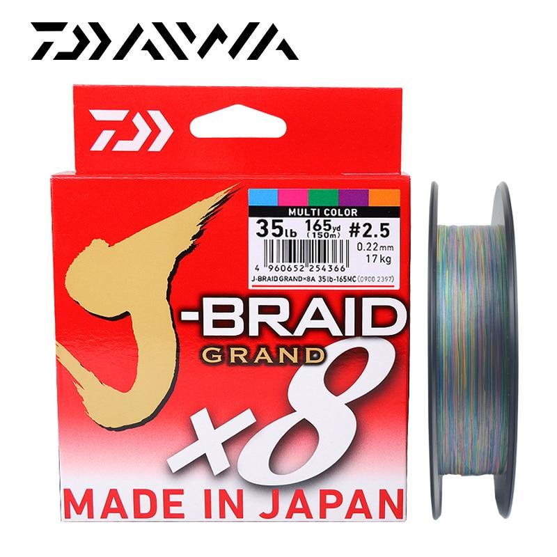 DAIWA nouveau J-BRAID Original grande ligne de pêche 135M 150M 8 brins tressé PE ligne de pêche monofilament 10-60lb fabriqué au japon