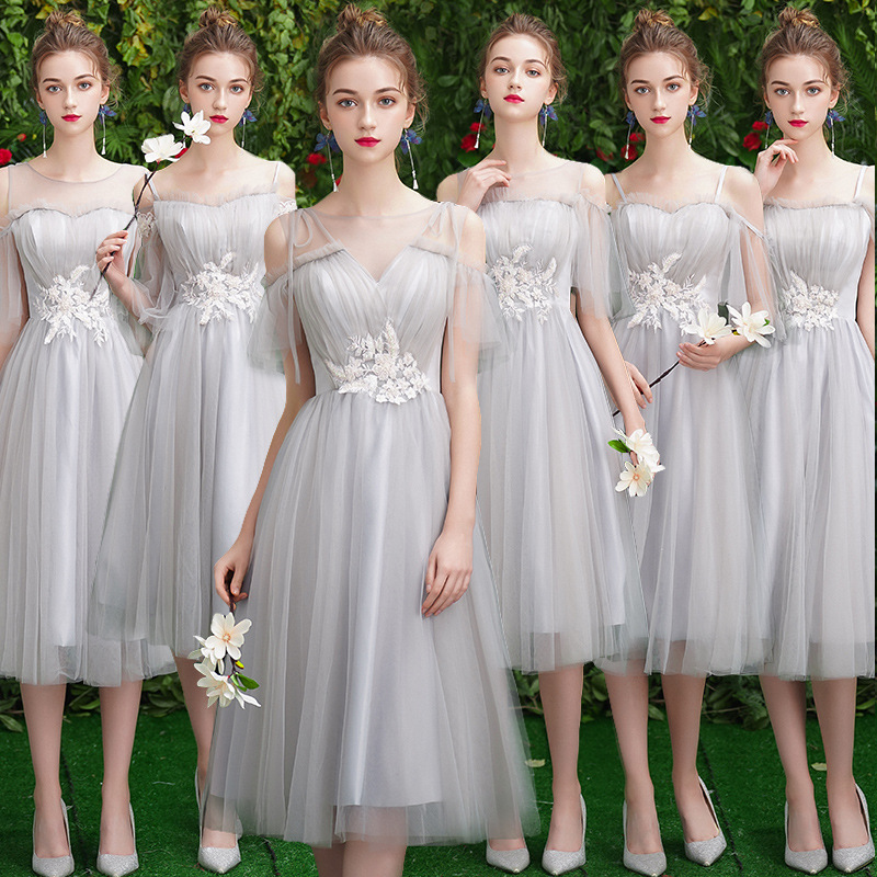 Bridesmaid Dresses Crepe A Line Wedding Party Gowns 2020 Gray Sexy Boat Neck Formal Dress Bandage Back Tea-Length Vestidos R001