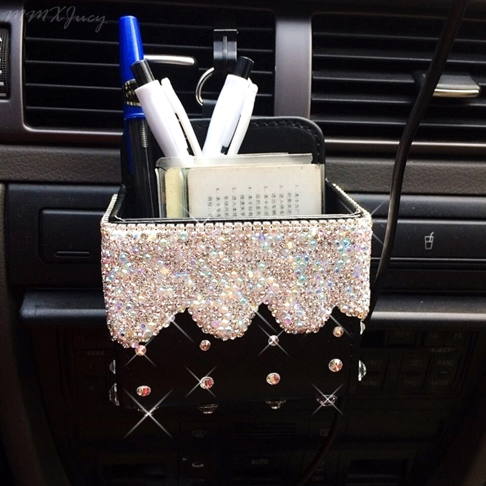 Car Air Outlet Hanging Storage Box Storage Bag Bling Rhinestone Holder