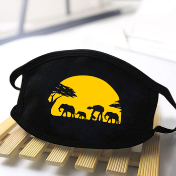 Unisex Funny Print Dustproof Masks Mouth Muffle Face Mask Kpop Kawaii Cartoon Mouth Masks High Quality Black Casual Mask 2020