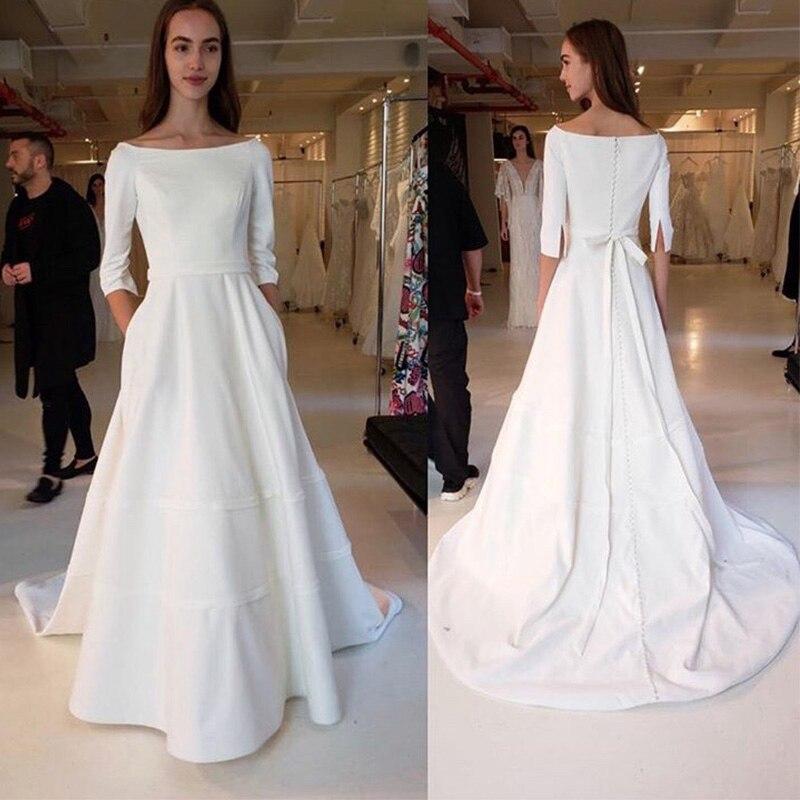 Simple trois quart manches une ligne robes de mariée 2019 col rond Boho robes de mariée blanc ivoire Satin élégant vestidos de noiva - 2