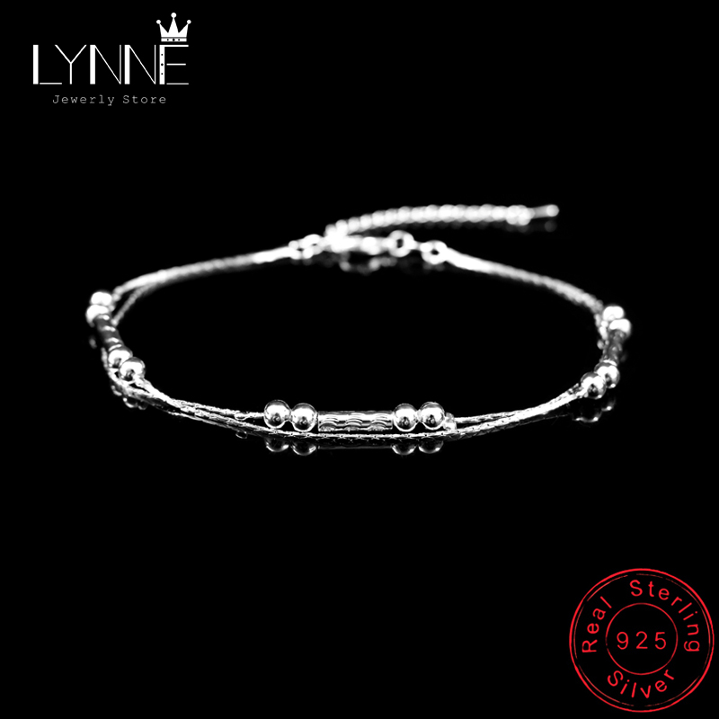 New Fashion Vintage Round Tube Chain Anklets Bracelet 925 Sterling Silver Small Ball Double Layer Anklet For Women Jewelry Gift