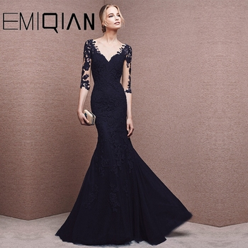 Mother Of The Bride Dresses Mermaid Half Sleeves Tulle Appliques Long Wedding Party Dresses Mother Dresses For Wedding 6
