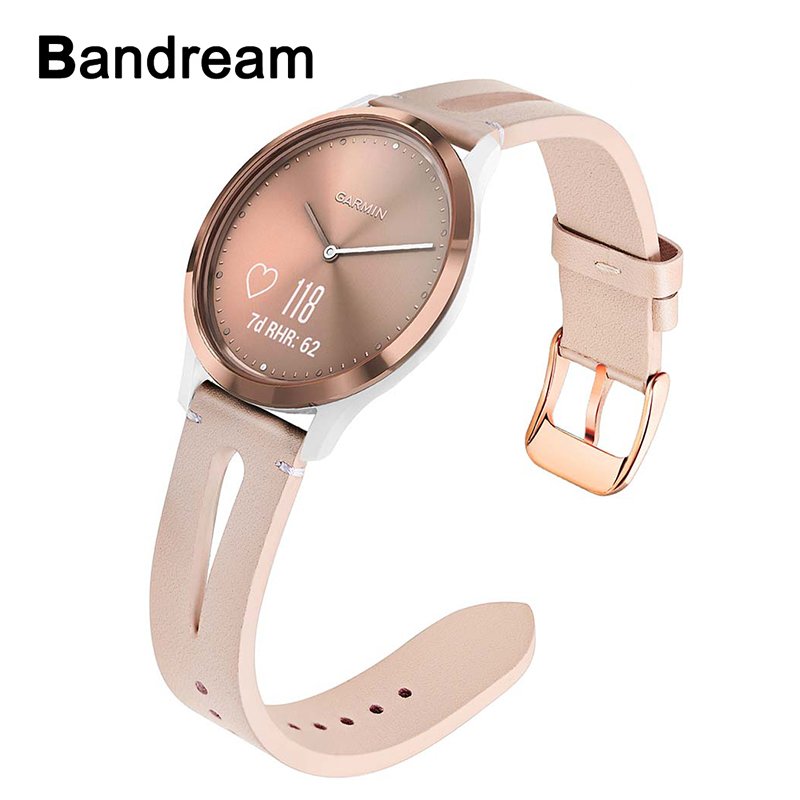 Floral Genuine Leather Watchband For Garmin Vivomove HR 3 3S / Vivoactive 4S 3 Music/ Venu / Luxe / Style Watch Band Women Strap