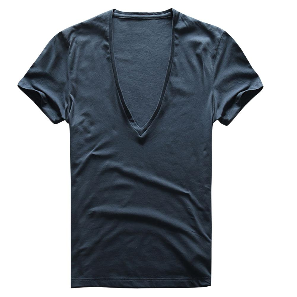 2020 New White T Shirt Men Summer Slim Type Sexy Stretch Solid Color Short Sleeve Deep V-neck Tshirts Mens Clothing Male Tops