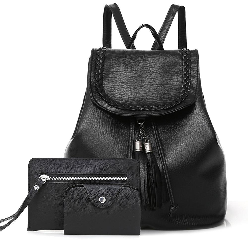 Shoulder Bag Waterproof PU Casual Women Backpack School Style Shopping Travel Polyester Large Capacity Fabala Hangbag 3-piece