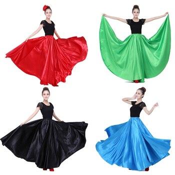 10 colori Donna Sala Da Ballo Costumi di Danza Del Ventre Solido Raso di Poliestere Spagnolo Gypsy Flamenco Pannello Esterno Vestito Perforance Usura Della Fase
