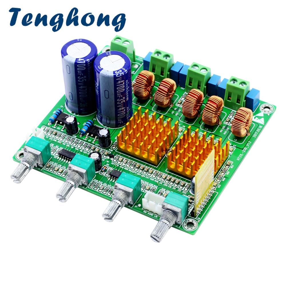 Carte amplificateur de caisson de basses Tenghong TPA3116D2 3 canaux haute puissance Bluetooth 4.2 classe D HIFI carte amplificateur Audio 2*50W + 100W