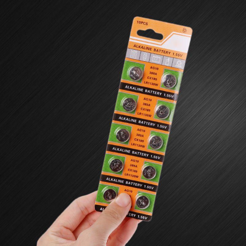10PCS Button Coin Cell Battery AG10 1.5V Watch Batteries SR54 389 189 LR1130 SR1130 Toys Control Remote 746D