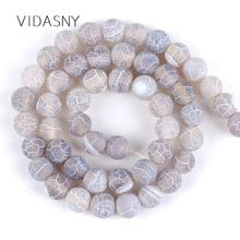 Natural Gray Frost Cracked Agates Round Stone Beads For Jewelry Making 4 6 8 10 12mm Loose Diy Necklace Bracelet 15