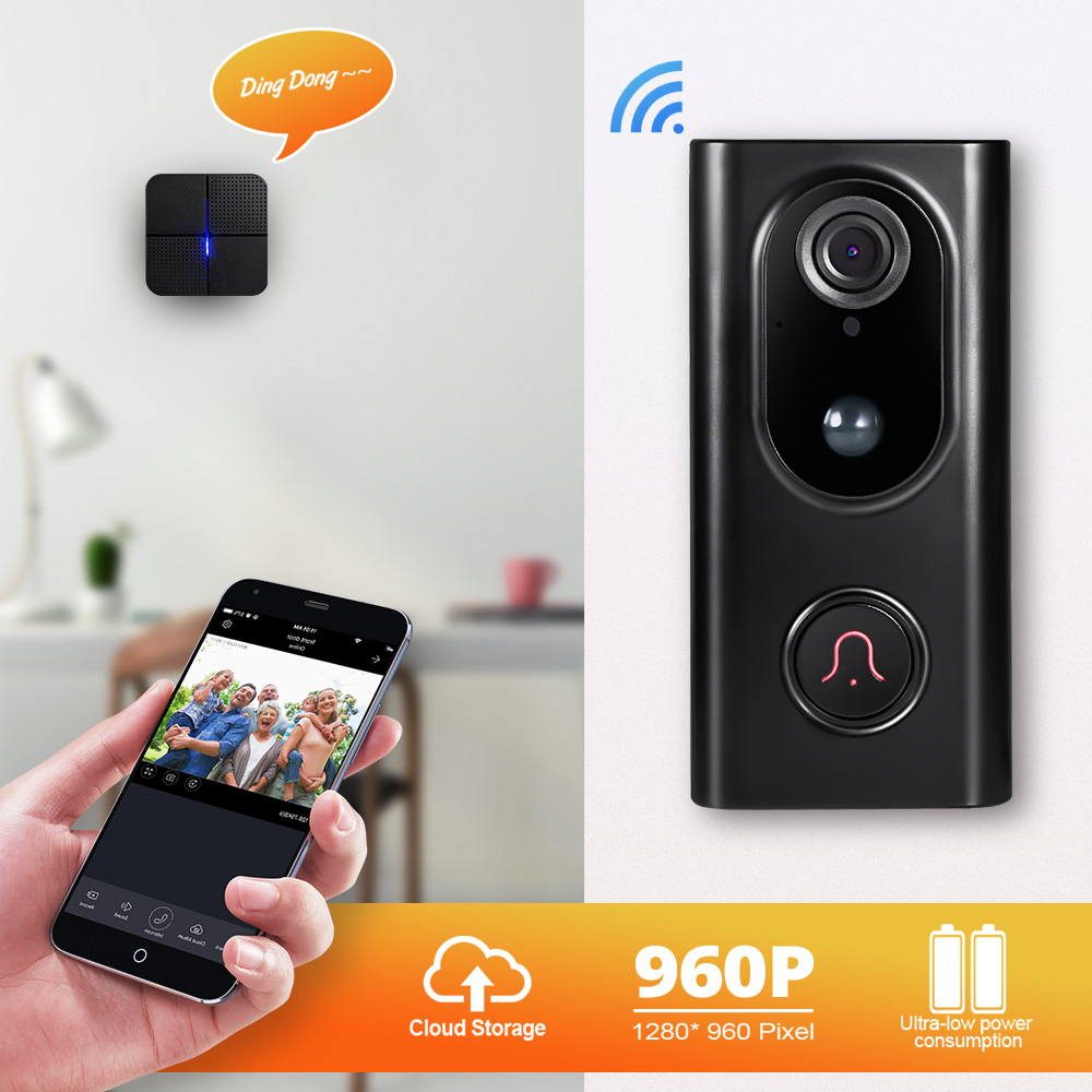 Fuers Video Intercom Doorbell Smart Wireless IP Wifi Doorbell 1.3MP Camera Security Phone Waterproof Cloud Storage For Home