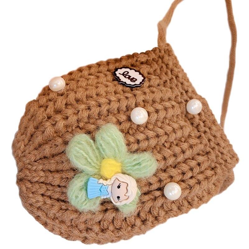 Детская сумка для девочек с милым мультяшным жемчугом, Вязаная Детская сумка через плечо, сумки через плечо, сумка-мессенджер - Цвет: K
