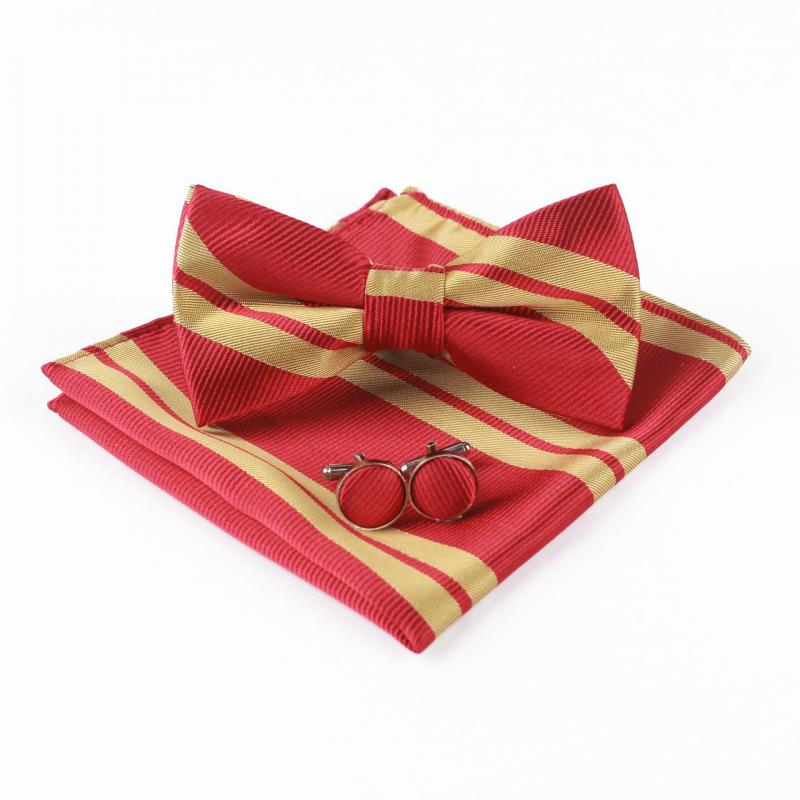 Men's Suit Pocket Towel Handkerchief Polyester Stripe Bow Tie Set