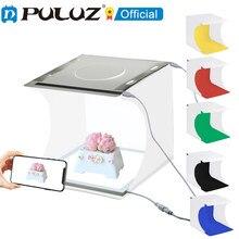 Puluz 20cm lightbox shadowless luz do painel da lâmpada estúdio tiro luz tenda caixa com 6 cores fundo desktop led lightbox kits
