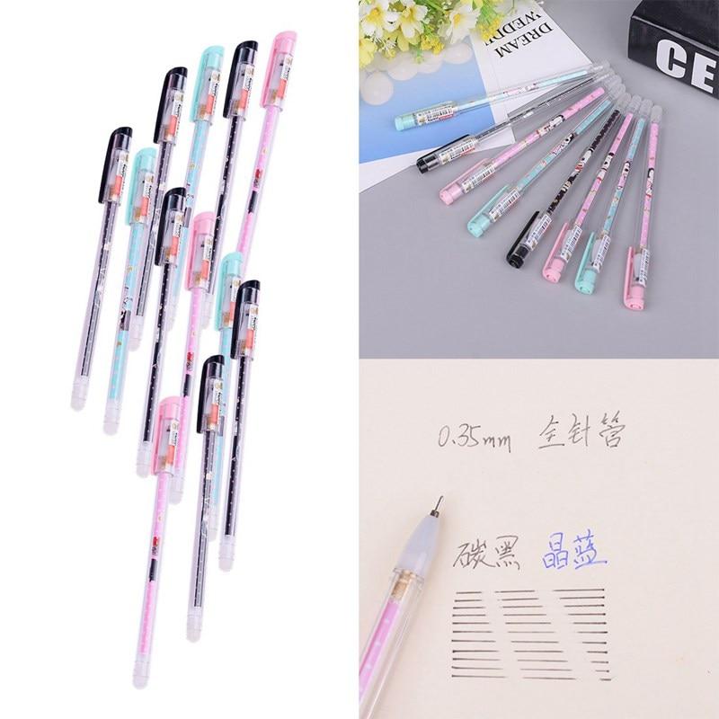 12 pçs criativo dos desenhos animados onda kawaii neutro canetas bonito menina 0.38mm material escolar papelaria de escritório apagável gel caneta recarga cor