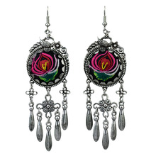 MYTHIC AGE Vintage Ethnic Tribal Embroidered Carved Tassel Long Drop Earrings For Women New Bohe Jewelry mythic age gold color ethnic chinese element cloisonne enamel leaves dangle earrings wholesale jewelry for women girls new