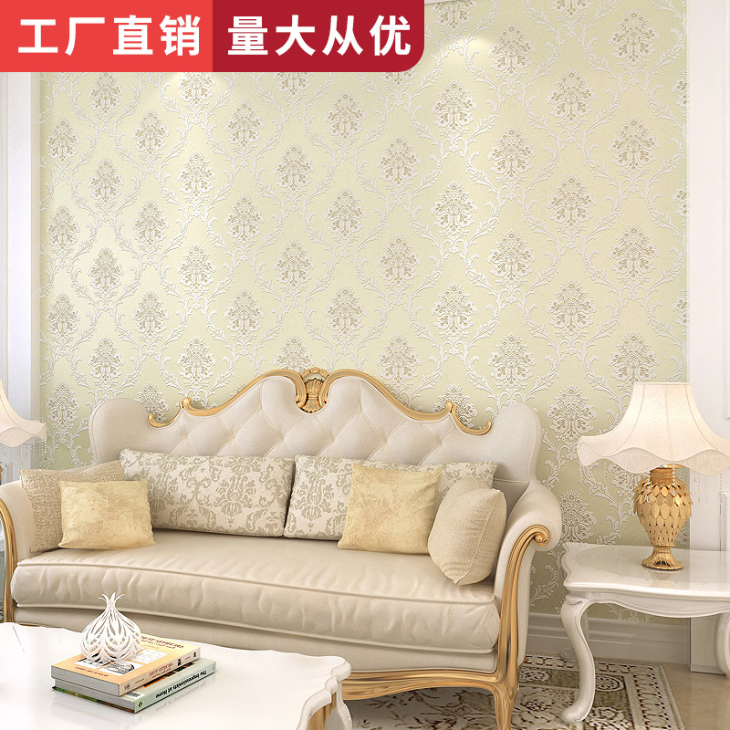 Living Room Bedroom Hotel TV Background Wallpaper European Style Top Grade 3D Damascus Non-woven Wallpaper Wholesale