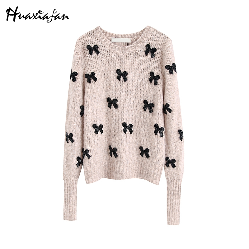 Huaxiafan Sweaters Women Knitted Pullover O Neck Casual Stylish Autumn Female Long Sleeves Sweet Bow Pattern Sweaters Warm Tops