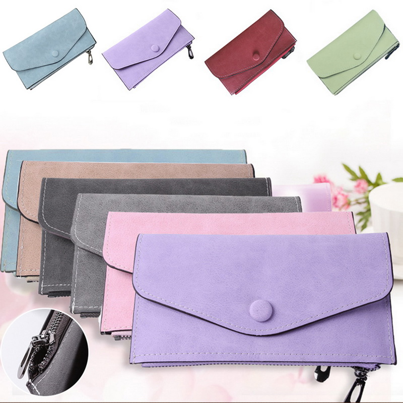 Long Wallet Women Purses Suede Fashion Coin Purse Card Holder Wallets Female Clutch Money Bag PU Leather Wallet