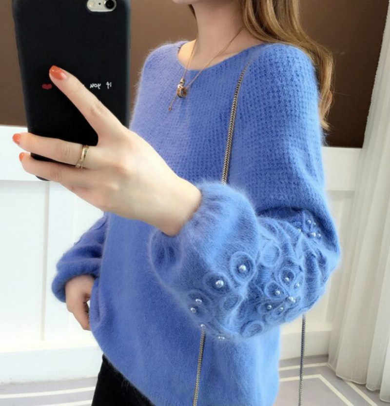Women's New Lantern Sleeve Crew Neck Loose Crop Sweater Pearl Beading Knitted Pullover Jumper Solid Color Korean Knit Tops K9002