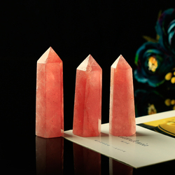 1PC truly natural strawberry quartz hexagonal  column Crystal Point Mineral Ornament Healing Wand Home Decor DIY Gift Decoration