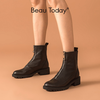 BeauToday Fashion Ankle Boots Women Calfskin Leather Round Toe Front Zipper Closure Autumn Winter Lady Shoes Handmade 03808 beautoday fashion ankle boots women calfskin leather round toe front zipper closure autumn winter lady shoes handmade 03808