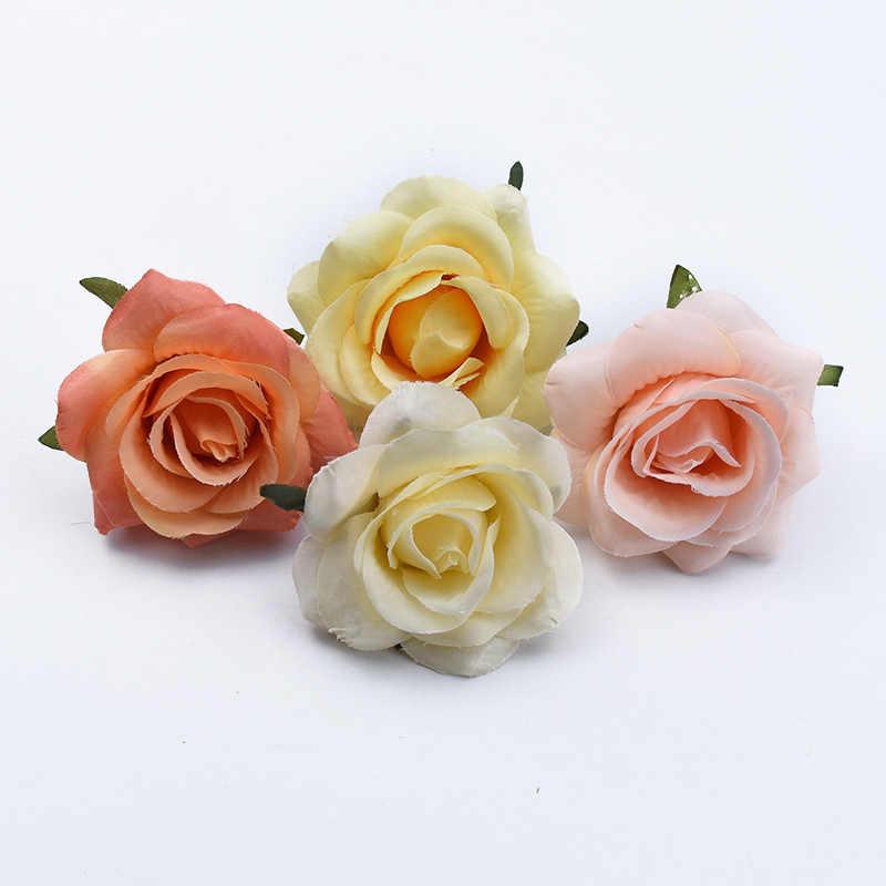 2/5/10 stuks 7CM Zijde rozen head wedding decoratieve bloemen muur diy geschenken box kerstversiering voor thuis plakboek bloemen
