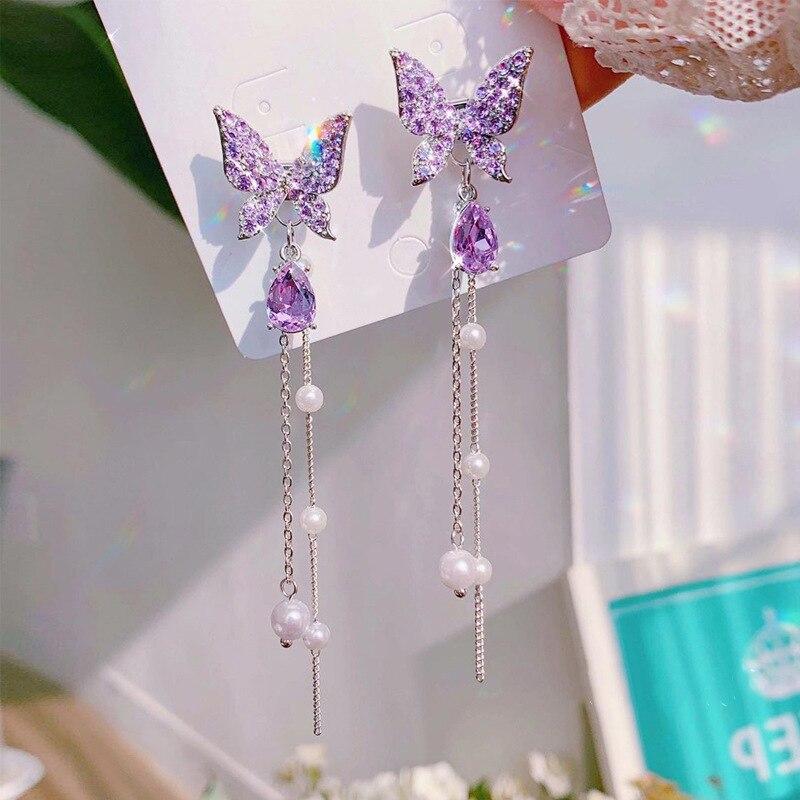 2021 модные корейские блестящие Висячие серьги Стразы с бабочками для женщин элегантные жемчужные кисточки серьги ювелирные изделия вечерни...